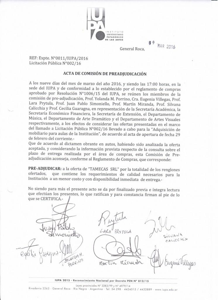 Acta de Comisión de Preadjudicación