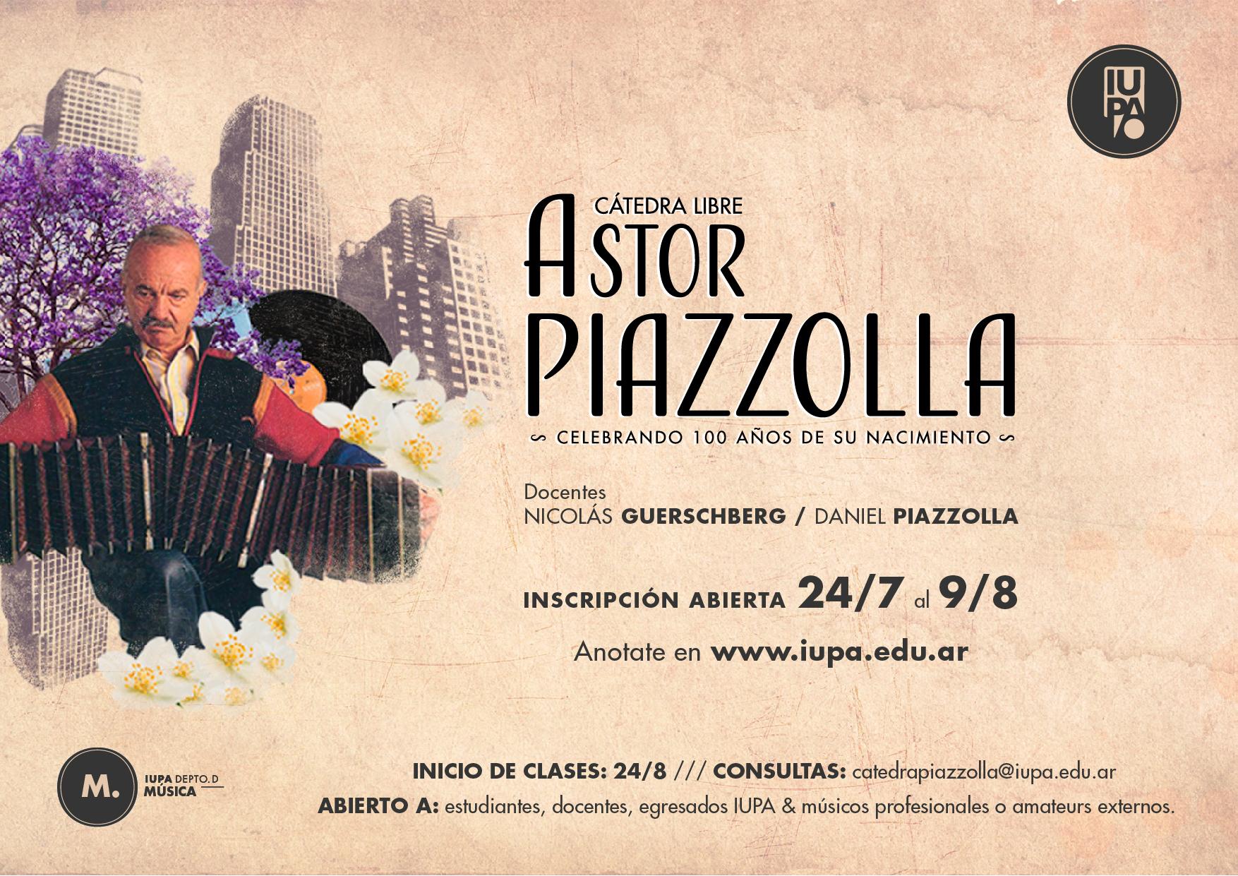flyer inscripción cátedra piazzolla