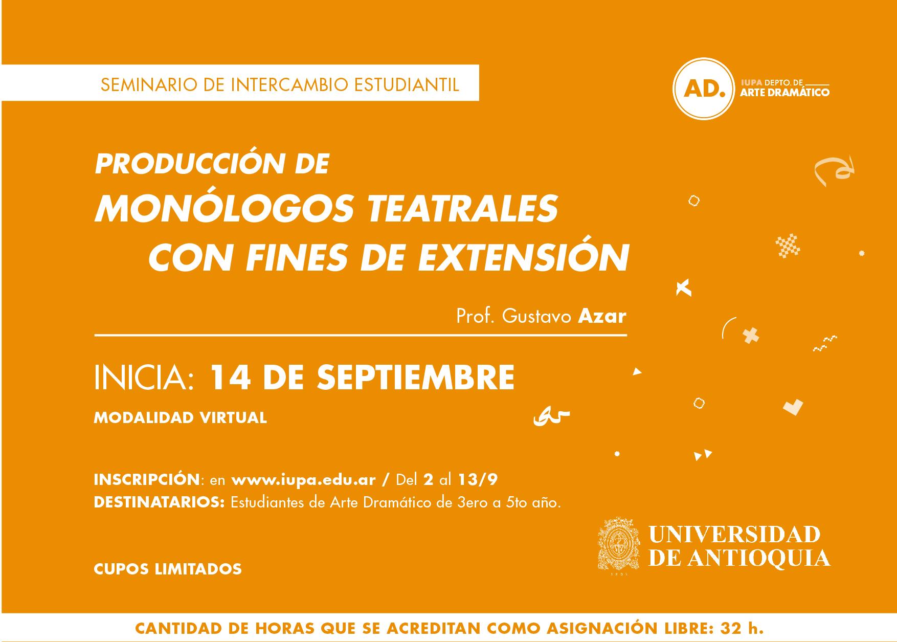 flyer seminario de monólogos teatrales