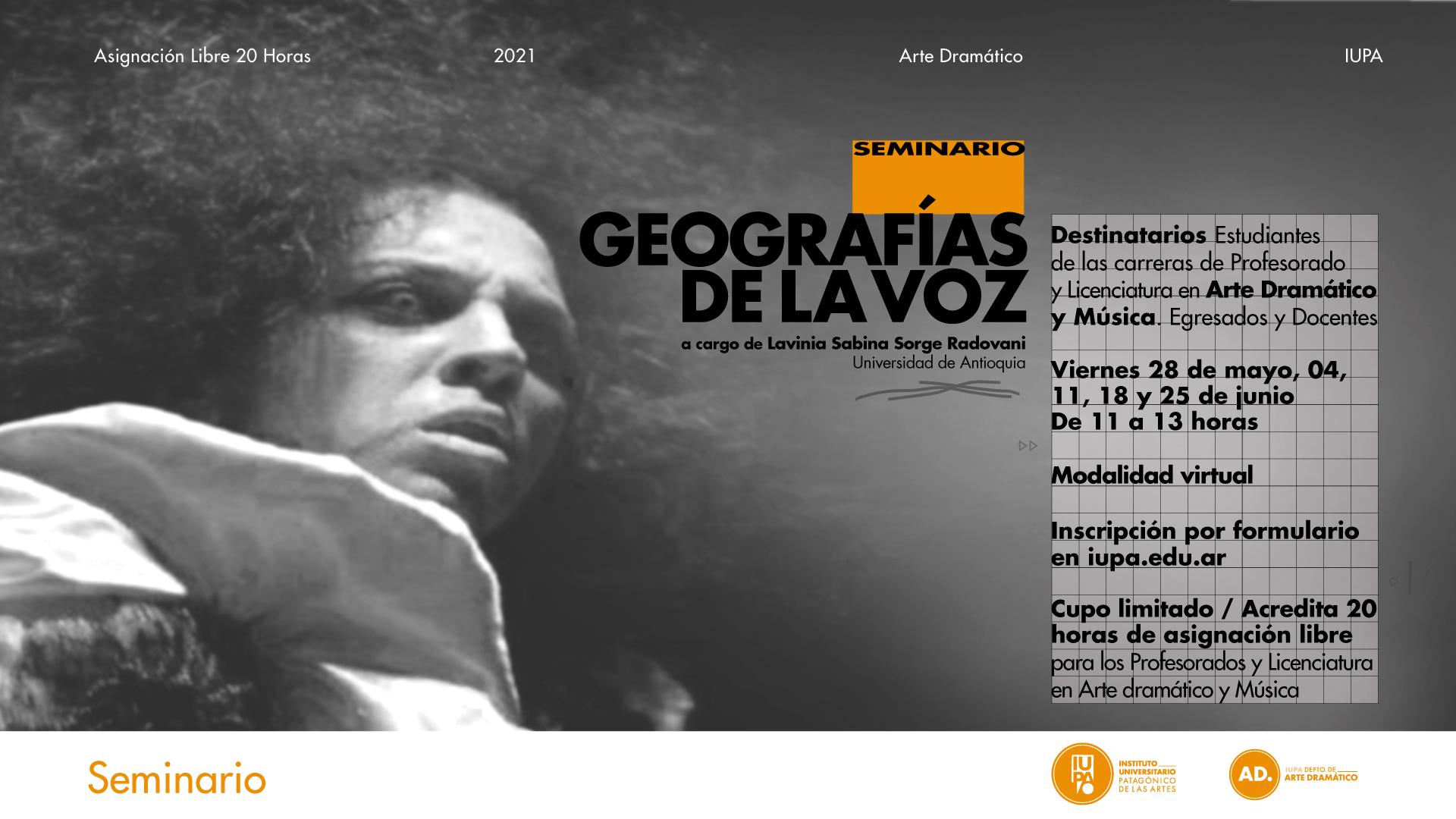 flyer seminario Geografìas de la voz